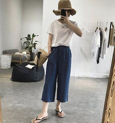 ☆Bubble Lady ☆ 現貨【E130】舒適寬鬆天絲牛仔七分寬褲