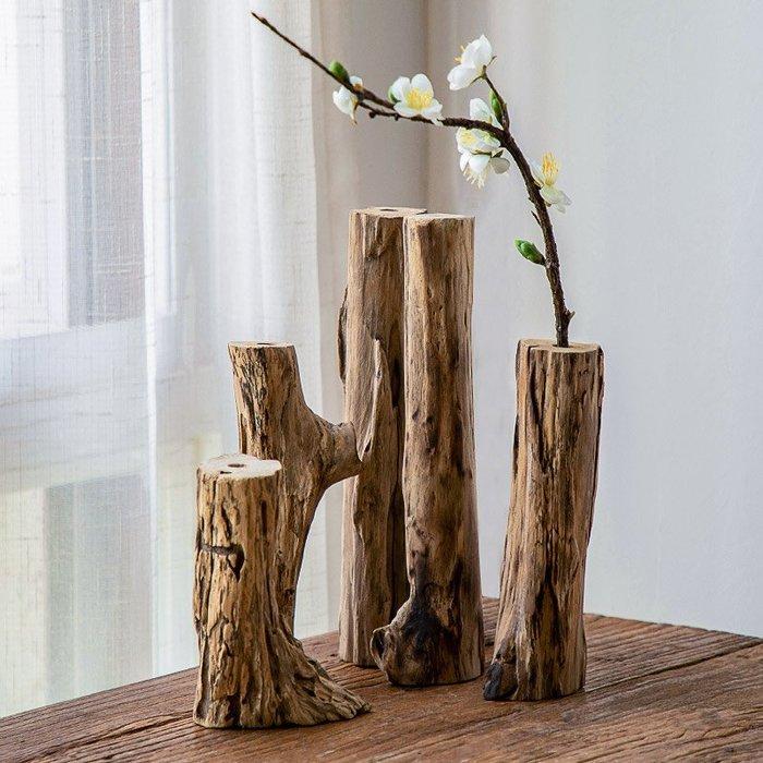 裝飾擺件 裝飾品 異麗復古禪意客廳實木干花插花瓶茶室花插桌面小花器創意裝飾擺件