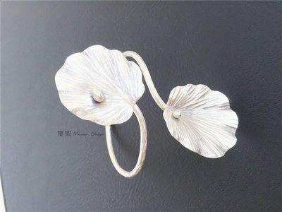 手工 荷葉露造型純銀手環 ~ 幸運手環...