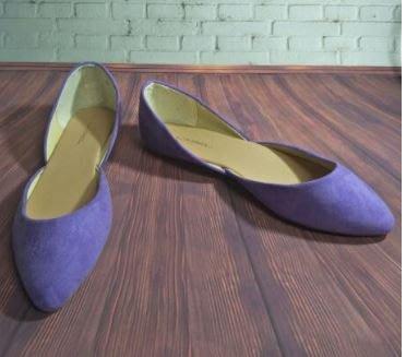 歐美品牌Clabel 馬卡龍粉紫色淺口麂皮尖頭鞋 大尺寸 US10