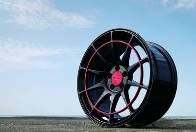 RSM RE01 17吋鋁圈 黑底紅環 5孔100 5孔108 5孔114.3 8J 完工價