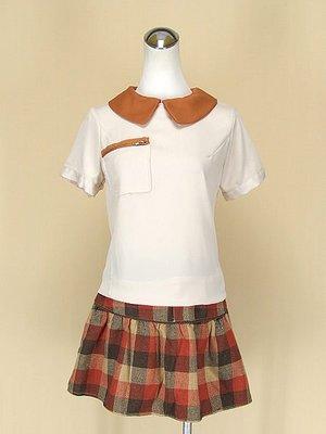 ORANGEBEAR 咖啡圓領短袖雪紡紗上衣F號+URBAN NOW 日本品牌咖啡毛料針織短裙M號(50036)