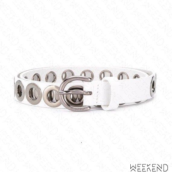 【WEEKEND】 DIESEL Eyelet 金屬環 穿孔 皮帶 腰帶 白色