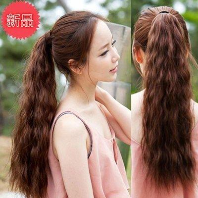 假髮 韓系假髮馬尾玉米燙馬尾捲髮馬尾綁帶馬尾女生假髮仿真可拉直馬尾長短 增加髮量
