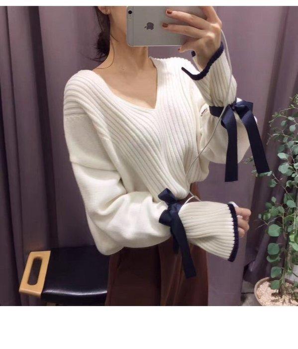 NETSHOP collection 韓)蝴蝶結綁帶毛料上衣