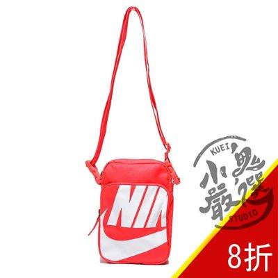 小鬼嚴選 NIKE HERITAGE SMIT 2.0 GFX 螢光紅 白大logo 側背包 BA6344-671