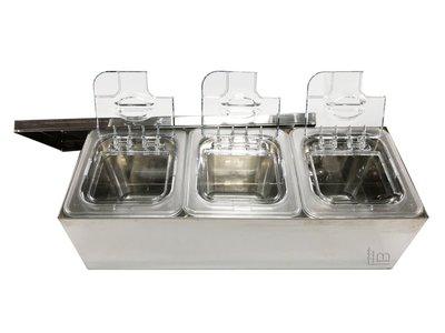 一鑫餐具【不銹鋼三格調味盒/高10公分】沙拉盒沙拉盆配料盒調味盒白鐵盒調理盆