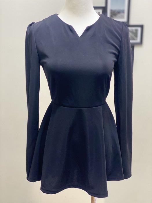 Ask Chic | F號-現貨 ||  韓國風公主袖小V領修身剪裁收腰荷葉下擺彈性上衣 (AN4022)