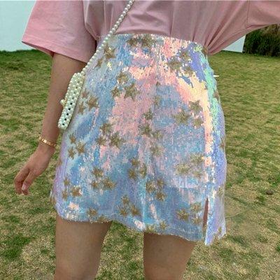 時尚女裙  韓版星星亮片高腰A字裙夏季新款修身百搭半身裙顯瘦包臀裙女