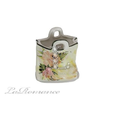 【芮洛蔓 La Romance】義大利 Ceramiche Fabbro 手繪粉玫瑰小布袋置物籃 / 收納盒 / 零錢盒