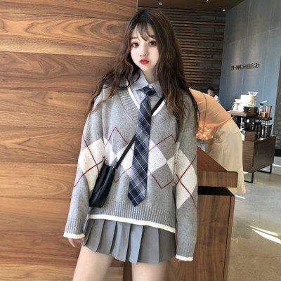 套裝 兩件套 中長款 連身裙 洋裝時尚套裝女秋季新款韓版寬松bfV領菱形毛衣+襯衣送領帶+A字裙