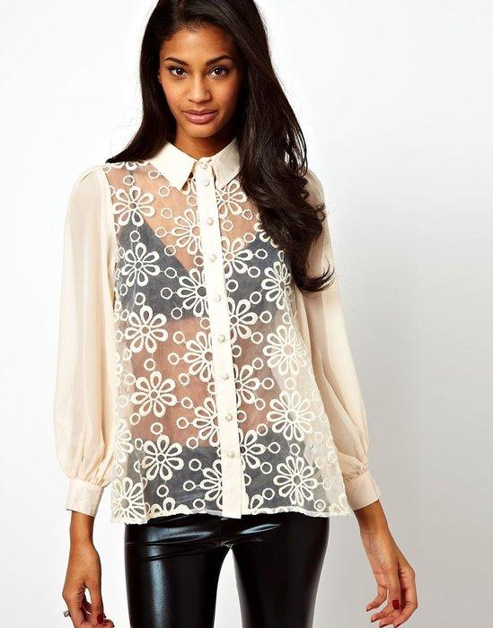 現貨UK8 英國品牌Rare 雪紡材質蕾絲花朵特色長袖襯衫上衣 原價兩千多