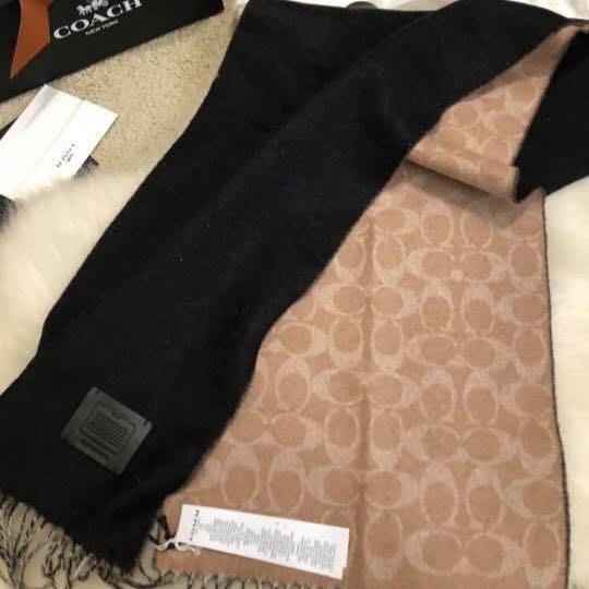 COACH 正櫃款100%喀什米爾雙面用圍巾-中性款