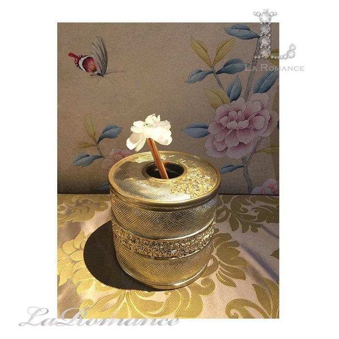 【芮洛蔓 La Romance】細緻格紋圓形面紙筒 / 面紙盒 / 收納盒 / 置物桶