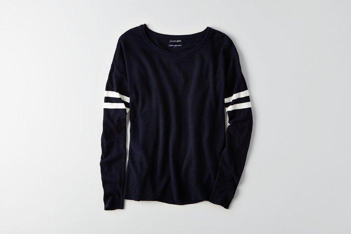 Maple麋鹿小舖 American Eagle * AE 深藍色針織長袖上衣  *( 現貨S號 )