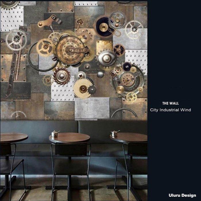 【韓國進口】重工業風 壁畫 客製化壁畫 鐵件齒輪造型 Loft 工業風 咖啡廳/早午餐/酒吧/髮廊 設計師款 韓國壁畫