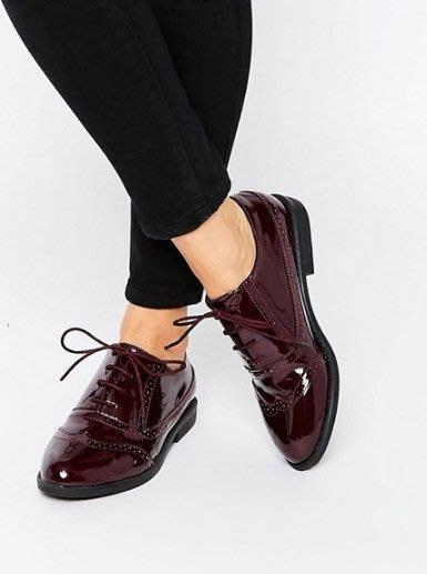 ◎美國代買◎ASOS巴洛克雕花鞋面漆皮革英倫時尚漆皮雕花平底鞋~歐美街風~大尺碼
