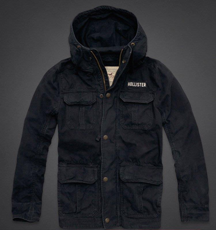 Maple麋鹿小舖 Hollister Co * HCO 深藍色軍裝風連帽外套*( 現貨M號 )