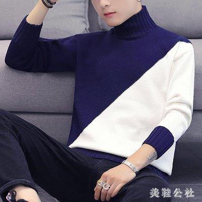 中大尺碼半高領毛衣男韓版潮流冬季新款男生寬鬆線衣男士針織衫zzy7935
