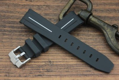 非Rubber B 優質手感20mm無logo無mark彎頭橡膠錶帶適用Rolex勞力士等黑水鬼綠水鬼116610 白線