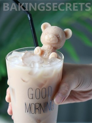 小熊冰塊模具網紅冰熊咖啡硅膠模具飲料咖啡奶茶立體小熊抖音