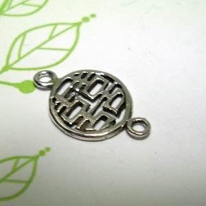 琥珀貓~【925純銀材料配件】連結配件~N9673~雙喜~一個