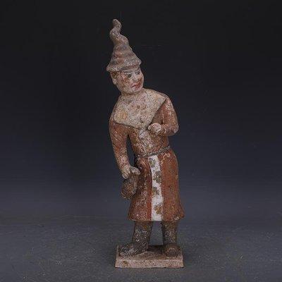【三顧茅廬】唐代手工彩陶雕塑男俑雕像 出土文物古瓷器古玩古董收藏品