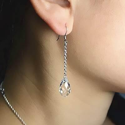 水晶耳環 925純銀耳針-長款簡約優雅時尚生日情人節禮物女飾品4色73km61[獨家進口][巴黎精品]