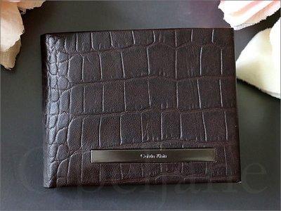 特價999元 Calvin Klein CK 卡文克萊 鱷魚壓紋真皮信用卡證件夾 中夾 簡易短夾 皮夾 愛Coach包包