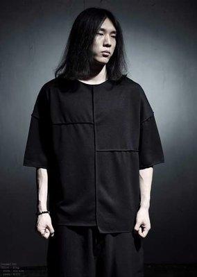 韓國不規則 上衣 圓領 春夏 短袖男 暗黑 設計