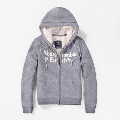 Abercrombie&Fitch AF字母麋鹿雪帕內裏款式-灰色,美國麋鹿女生連帽外套纯棉休閒帽T【A&F全新品】 台中市