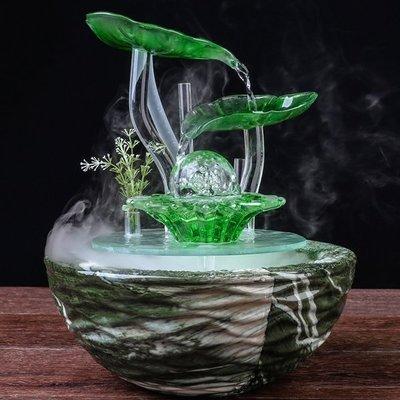 5Cgo【宅神】含稅會員有優惠536284792993 歐式擺件小型流水噴泉風水玻璃陶瓷招財加濕霧化器客廳創意開業送禮客