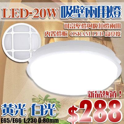 【阿倫燈具】(YE65/66)LED-20W白殼戶外防水燈 黃/白光高亮度 吸壁兩用 全電壓 OSRAM LED