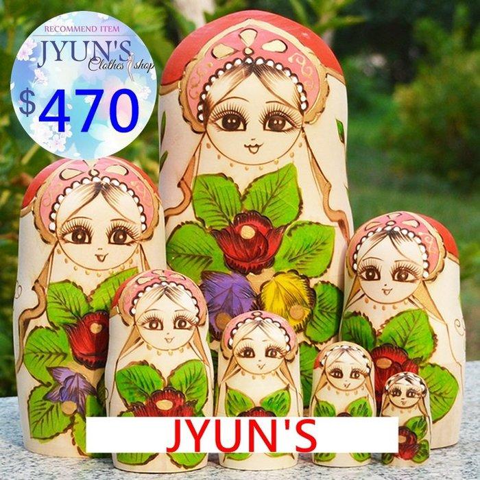套件 手工木製手繪花朵無甲醛味不鬆不緊椴木俄羅斯套娃娃擺件進口正品7層生日禮物禮品情人節1色-JYUN'S 預購