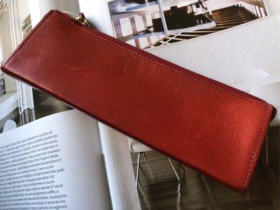 西武百貨東京攜回真皮製筆盒/化妝眉筆包