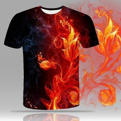 亞馬遜2019夏季新款男裝黑紅火焰3D印花T恤短袖歐美潮流時尚服裝