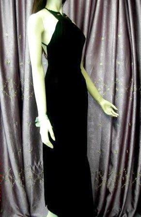 意大利奢華品牌全新《Paola Frani》性感手工串珠顎領露背黑色修身長洋裝禮服