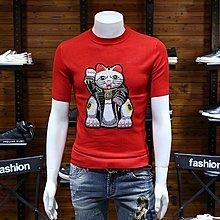 本命年男裝紅色針織半恤時尚潮圓領修身型招財貓刺繡毛衣打底線衫