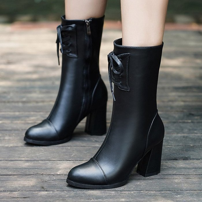 【高質感】馬丁靴馬丁靴女2018秋冬新款韓版高跟中筒大碼女靴子側拉鏈粗跟保暖皮靴韓版
