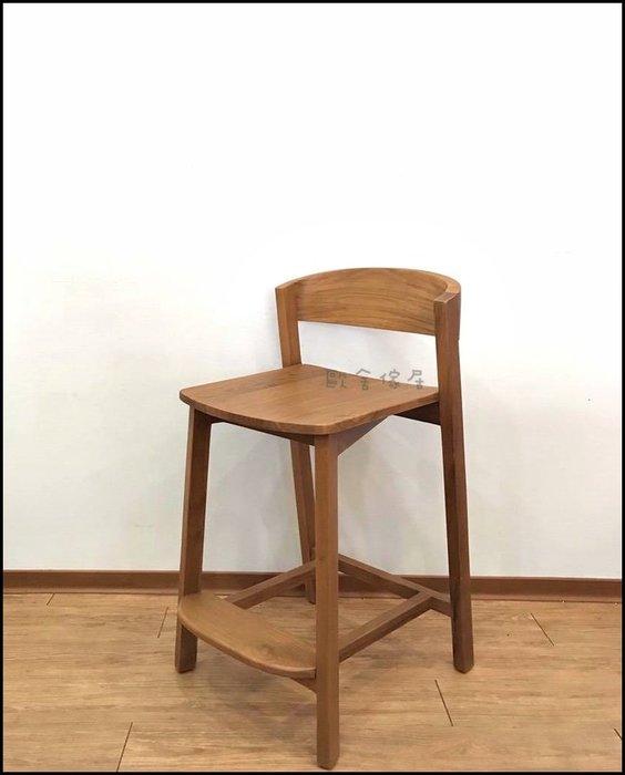 鄉村風 柚木有背吧檯椅B款 座高61公分 北歐風簡約風靠背原木吧台椅高腳椅餐椅 共2款實木中島椅工作椅【歐舍傢居】