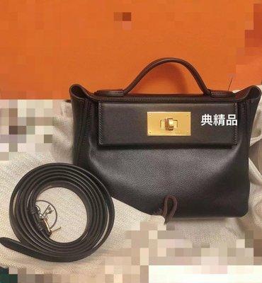 典精品 Hermes 全新 真品 黑金 黑色 金釦 迷你 mini 24/24 21cm 手提包 肩背包