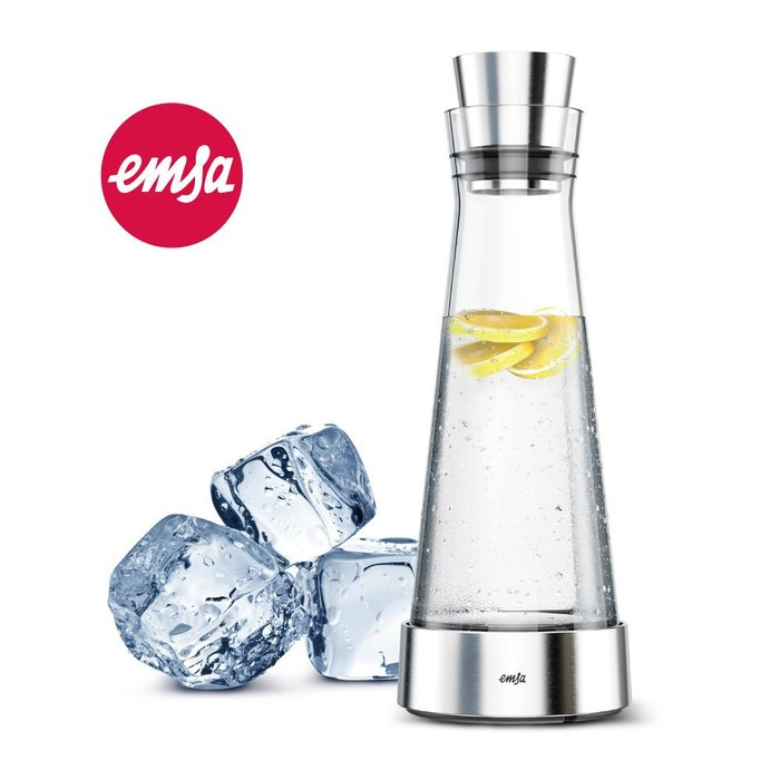 Click Me § 【德國EMSA】頂級玻璃保冷水瓶 德國原裝進口(不鏽鋼)-原鋼色