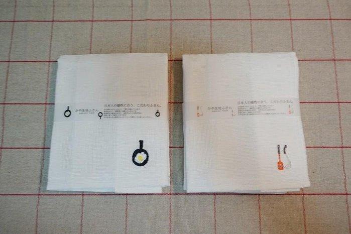 《散步生活雜貨-廚房散步系列》日本製 kaya 生地 敷巾 廚房用抹布 兩款一組 - 煎荷包蛋