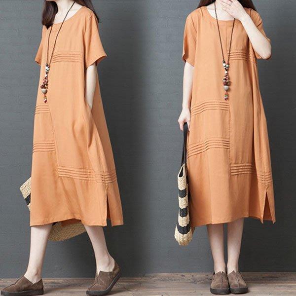 短袖洋裝◎ 女人心語 ◎ 中大尺碼  寬鬆純色短袖連身裙 (二色) 預 CK-BC-SK