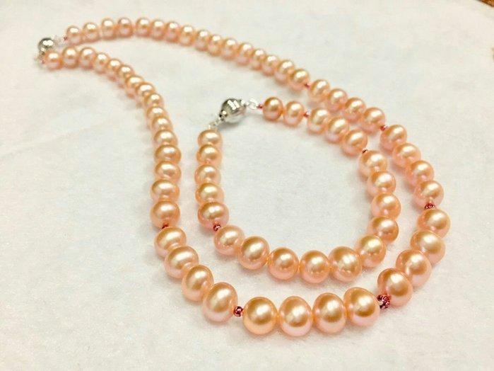 全天然日本珍珠7(3/4)-8(3/4)mm 手鍊、項鏈套組 41.5&17.5CM 純銀配件【Texture & Nobleness 低調與奢華】