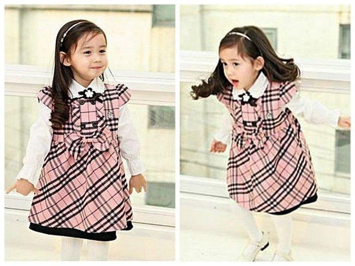 ❤厤庭童裝舖❤最後一套【C262】學院風粉色格紋兩件式背心裙/連身裙套裝(140CM)