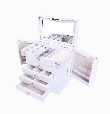 【優上】首飾盒實木質帶鎖韓國公主歐式化妝收納盒雕花鑲鑽「花蝴蝶鑲鑽 雪山白色」