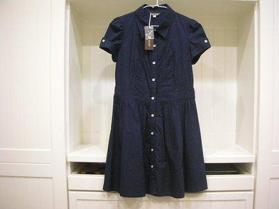 全新 nice ioi 深暗藍厚實具挺度不易皺100%棉 +全件式內裡優雅翻摺式雙銀釦造型袖可穿皮帶可單穿收皺式短袖洋裝