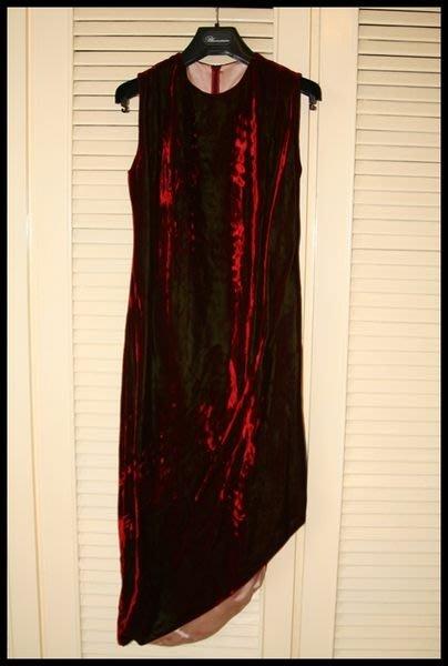 Shiatzy Chen夏姿頂級手工訂製線華麗中國紅絲絨側開叉改良式旗袍禮服(原價$49800)