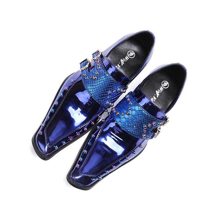 **蛻變英倫**韓國限定版連線熱賣高品質訂製歐美頂級款獨創搖滾歐美版夜店時尚尖頭男鞋個性炫酷舞台髮型師皮鞋夜店主持人鞋子